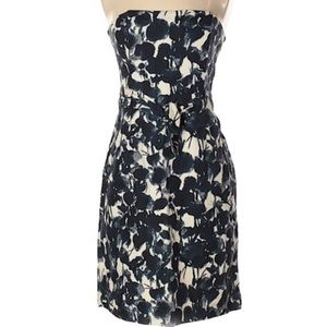 Banana Republic Blue Floral Strapless Dress